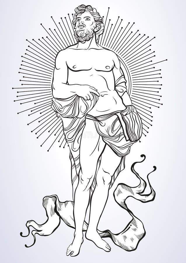 Deus grego, herói mitológico de Grécia antigo Arte finala bonita desenhado à mão do vetor isolada classicism Mitos e legendas ilustração royalty free