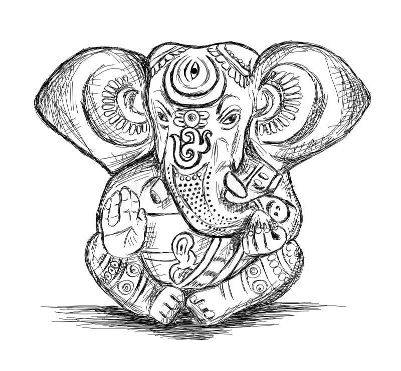 Deus hindu Ganesha - ilustração do esboço do vetor ilustração royalty free
