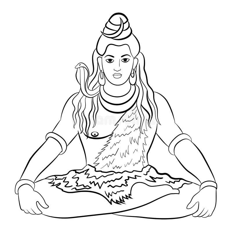 Deus Hindu Shiva Ilustração do vetor ilustração do vetor