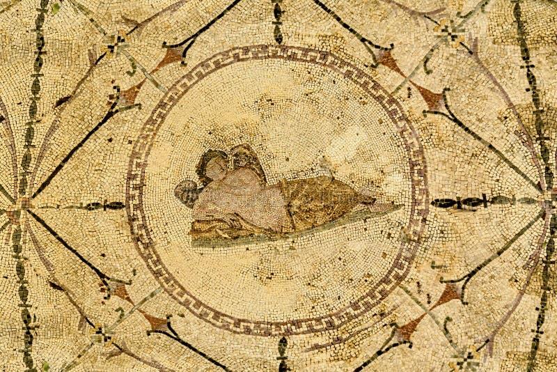 Deus Hypnos no mosaico na casa de campo romana, II do século B C fotografia de stock