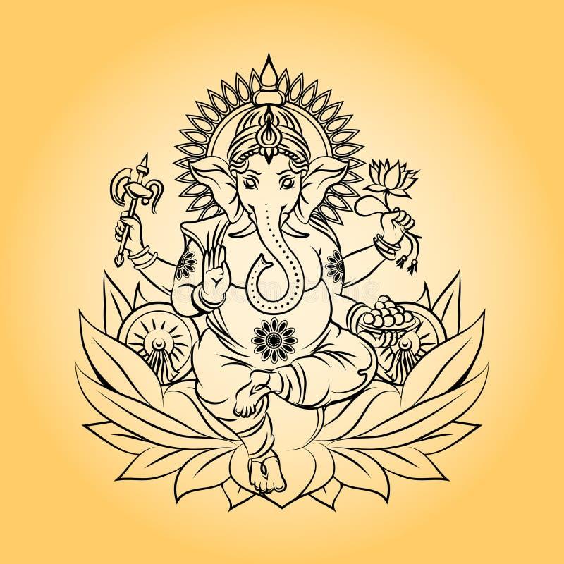 Deus indiano do ganesha do senhor com cabeça do elefante ilustração royalty free