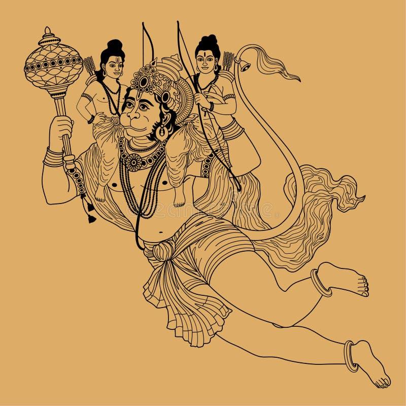Deus indiano Hanuman ilustração royalty free