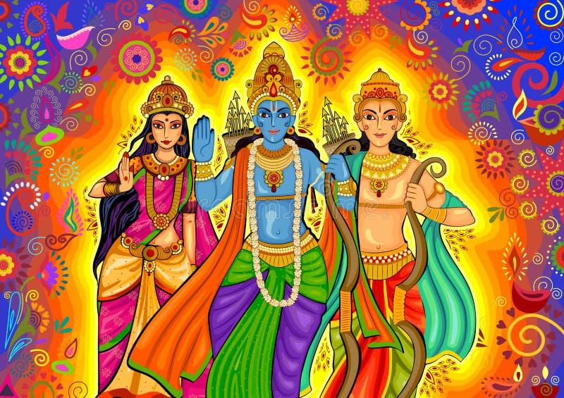 Deus indiano Rama com Laxman e Sita para a celebração do festival de Dussehra na Índia ilustração do vetor