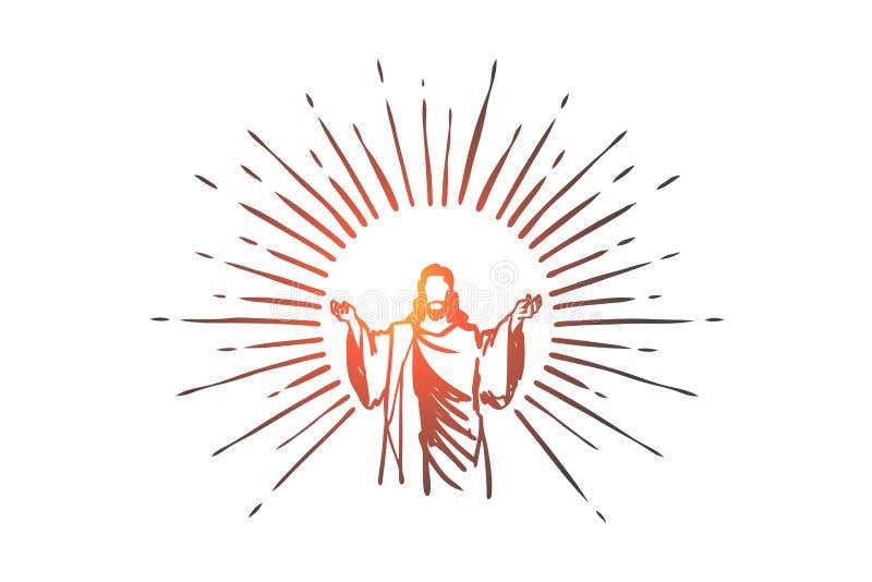 Deus, Jesus christ, benevolência, boa, conceito da ascensão Vetor isolado tirado mão ilustração royalty free
