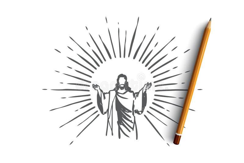 Deus, Jesus christ, benevolência, boa, conceito da ascensão Vetor isolado tirado mão ilustração do vetor
