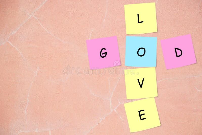 Deus/palavras cruzadas do amor fotos de stock royalty free
