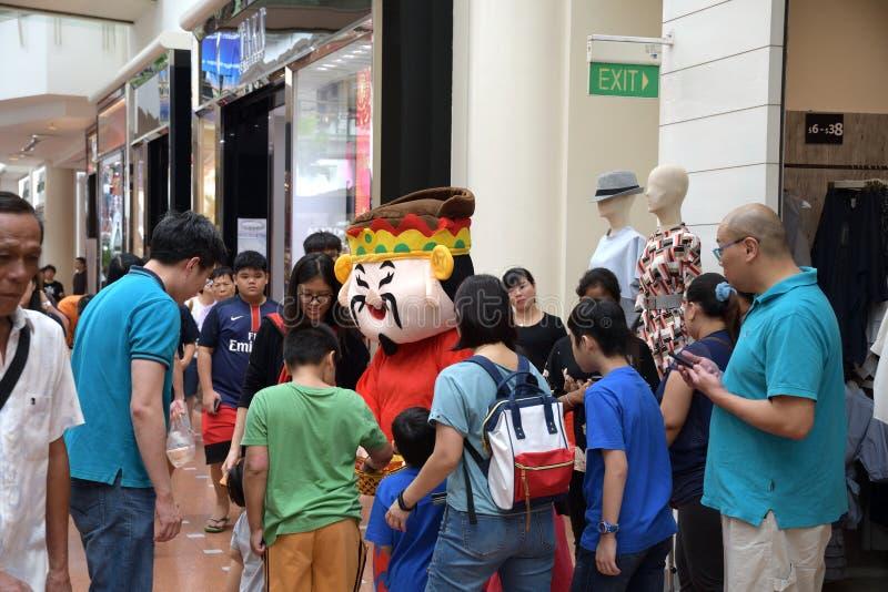 Deus recorrido da mascote da fortuna no ponto de Jurong Singapura 2018 foto de stock royalty free