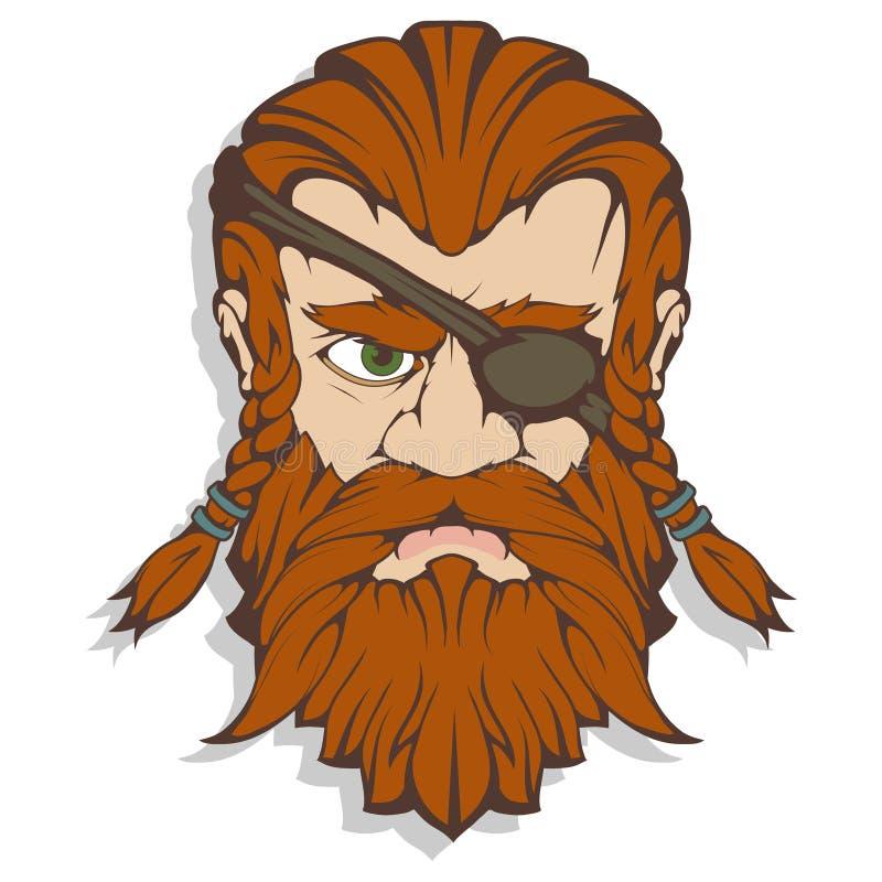 Deus supremo escandinavo da mitologia de noruegueses - Odin Desenho da mão de Odin Head Caráter farpado do homem dos desenhos ani ilustração stock