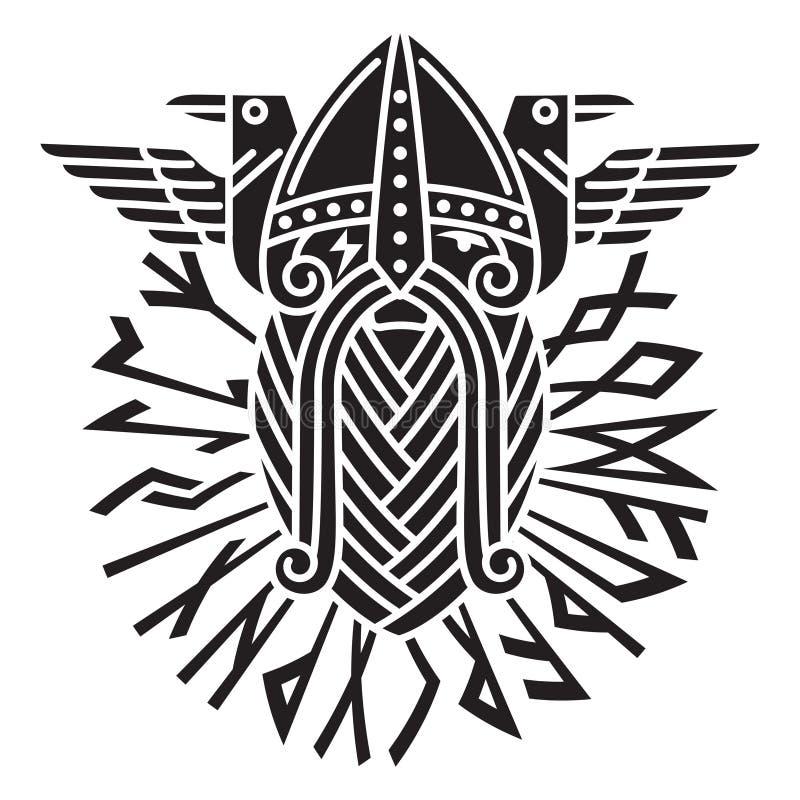 Deus Wotan e dois corvos em um círculo de runas dos noruegueses Ilustração da mitologia de noruegueses ilustração royalty free