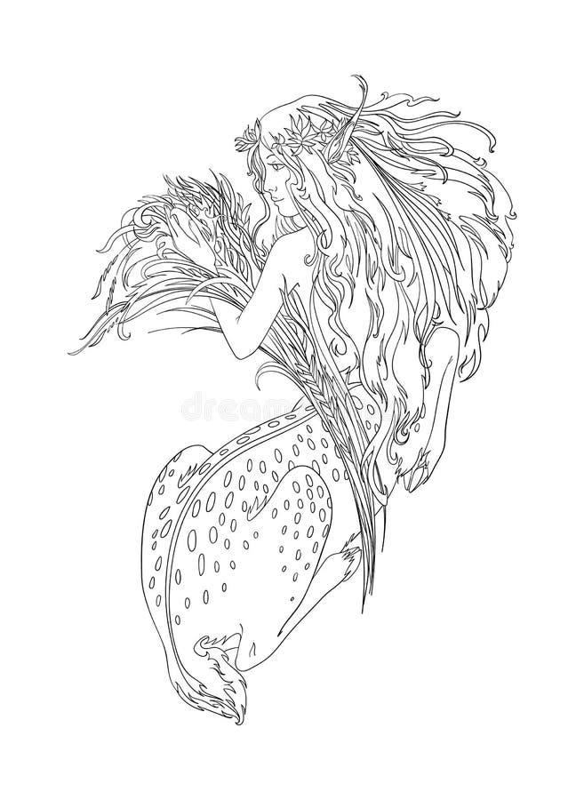 Deusa antiga, meia menina, meio veado, criatura mitológica Ilustração de contorno isolada de vetor para página de coloração ilustração royalty free