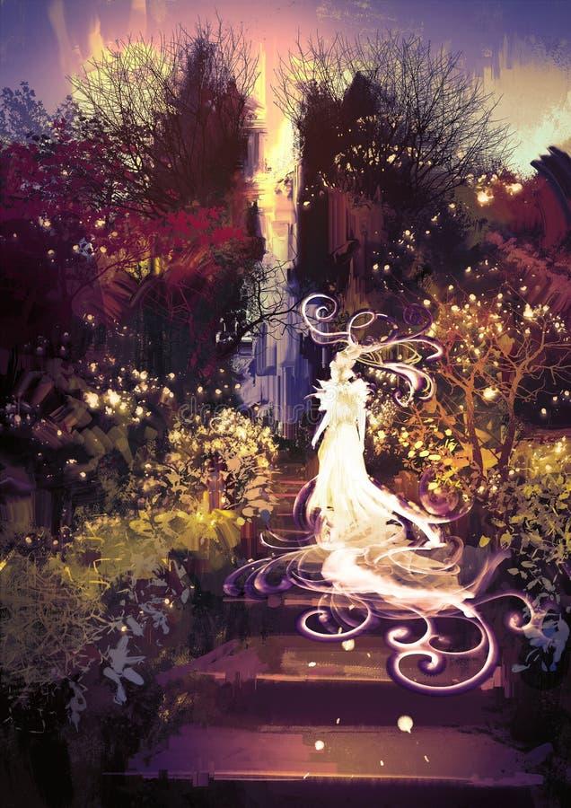 Deusa bonita acima das escadas ilustração royalty free