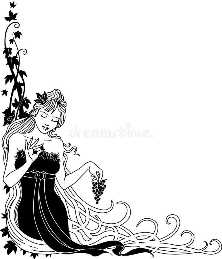 Deusa com ilustração das uvas ilustração do vetor
