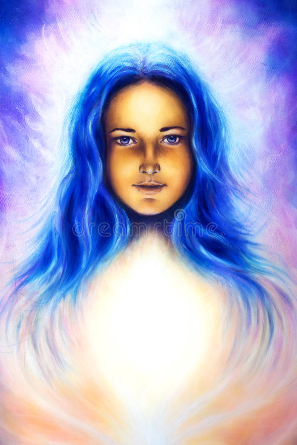 Deusa da mulher com cabelo azul longo e luz branca, olhos azuis espirituais, contato de olho ilustração stock