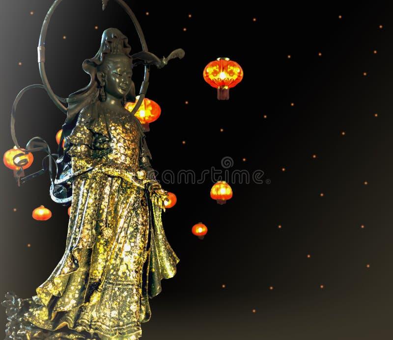 A deusa da piedade Guanyin ou Guan Yin são um bodhisattva asiático do leste associado com a piedade como venerado pelo botão de M ilustração royalty free