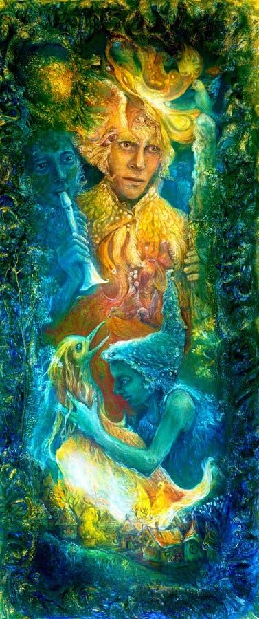 A deusa do deus de sol dourado e da água azul, imaginação da fantasia detalhou a pintura colorida, com pássaros e música da flaut ilustração stock