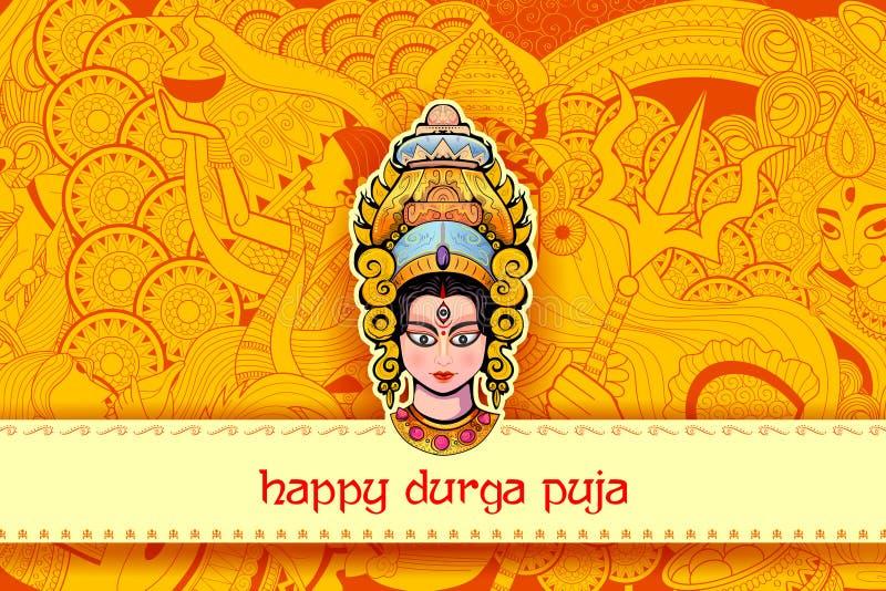 Deusa Durga Face no fundo feliz de Durga Puja ilustração stock