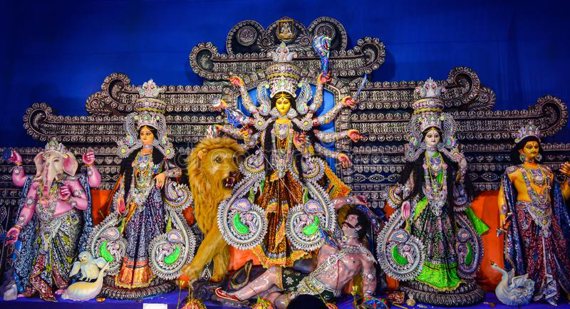 Deusa Durga: Durga Puja é esse do festival o mais famoso comemorado em Bengal ocidental imagem de stock royalty free