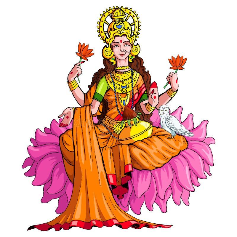 Deusa Lakshmi ilustração royalty free