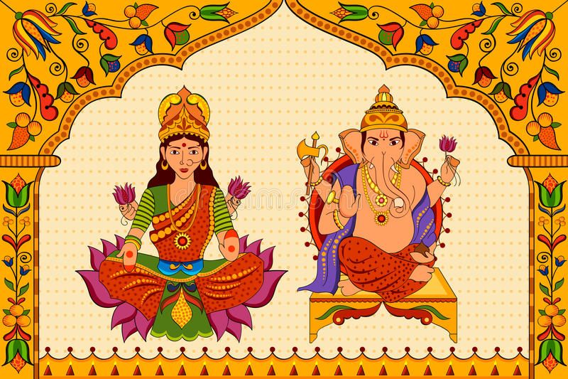 Deusa Lakshmi e Lord Ganesha no fundo feliz de Diwali ilustração royalty free