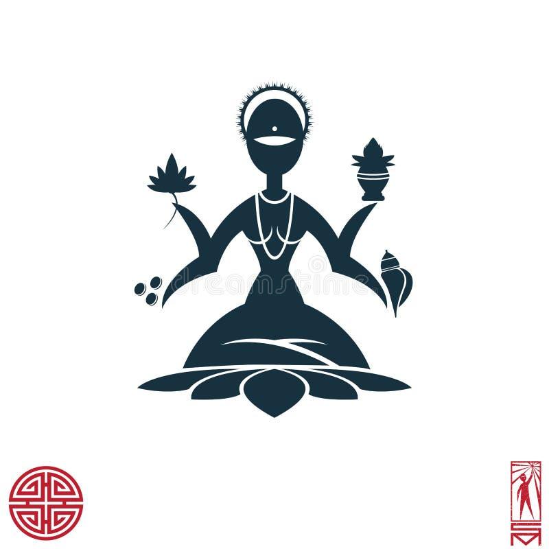 A deusa Lakshmi está meditando na posição de lótus ilustração royalty free
