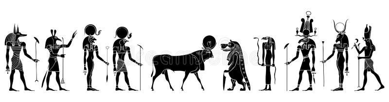 Deuses e criaturas egípcios ilustração stock
