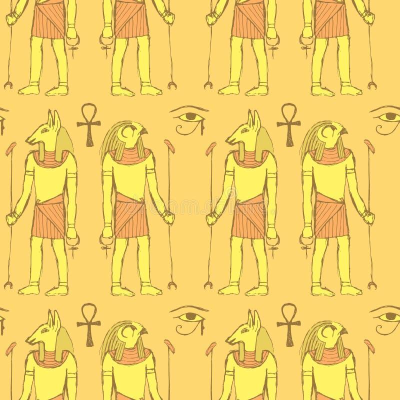 Deuses egípcios do esboço no estilo do vintage ilustração do vetor