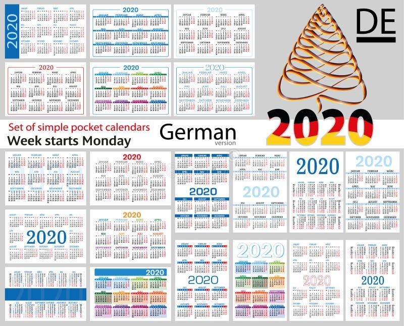 Deutsch ajustou-se de calendários do bolso para 2020 ilustração royalty free
