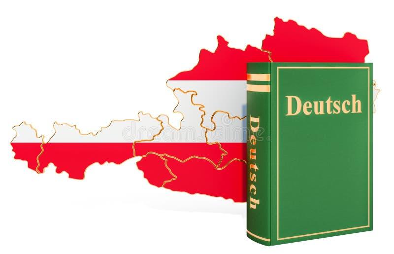 Deutsch språkbok med översikten av Österrike, tolkning 3D royaltyfri illustrationer