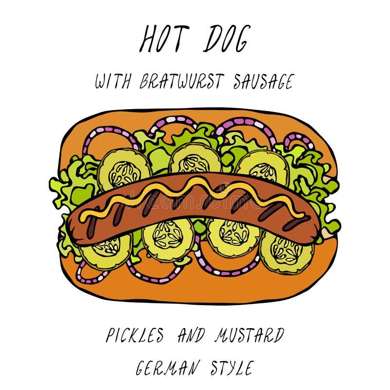 Deutsche Art-Hotdog-Bratwurst-Wurst, Kopfsalat-Salat, in Essig eingelegte Gurke, Senf Schnellimbisssammlung Realistische Hand hoc stock abbildung