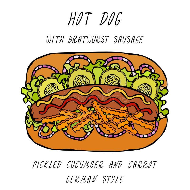 Deutsche Art-Hotdog-Bratwurst-Wurst, Kopfsalat-Salat, in Essig eingelegte Gurke und Karotte, Senf, Ketschup Schnellimbisssammlung vektor abbildung