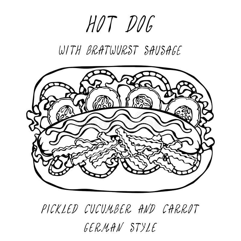 Deutsche Art-Hotdog-Bratwurst-Wurst, Kopfsalat-Salat, in Essig eingelegte Gurke und Karotte, Senf, Ketschup Schnellimbisssammlung lizenzfreie abbildung