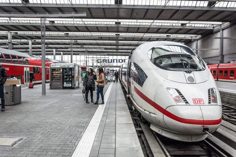 A Deutsche Bahn ICE Intercity bullet train stock image