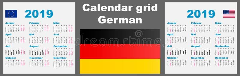 Deutsche del calendario, 2019 plantilla determinada alemana del ejemplo de la pared ISO 8601 de la rejilla con la enumeración de  ilustración del vector
