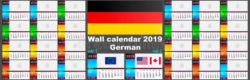 deutsche deutscher Wandkalender 2019 Zwei Schablonen ISO 8601 für Europa und USA Kanada mit Wochennumerierung Vektor stock abbildung