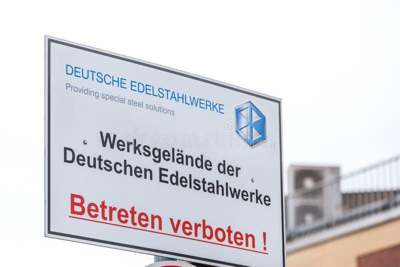 Deutsche-edelstahlwerke unterzeichnen witten herein Deutschland lizenzfreie stockbilder