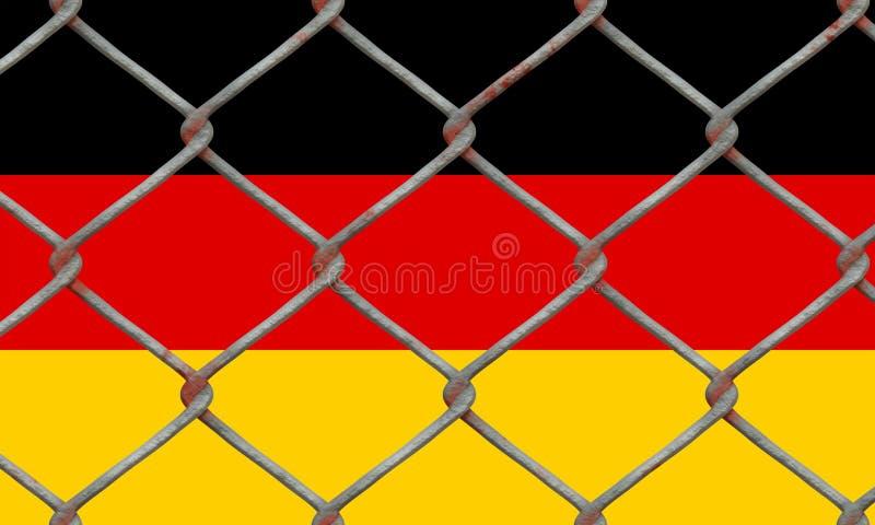 Deutsche Flagge hinter einem Glaszaun stockbilder