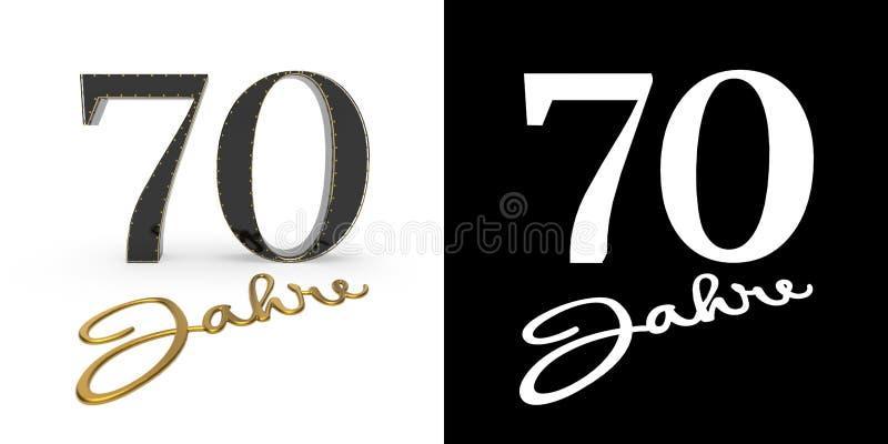 Deutsche goldene Zahl siebzig Jahre 3d übertragen vektor abbildung