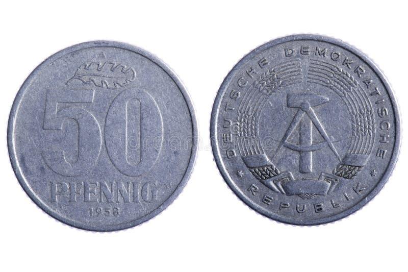 Deutsche republik coins. Object on white - Deutsche republik coins close up stock photo