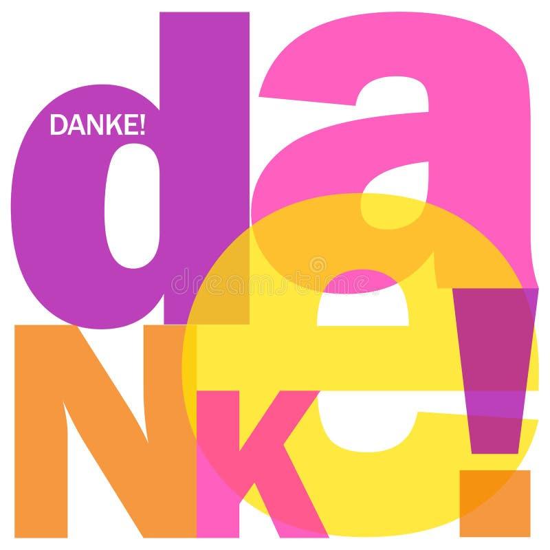 Deutsche Sprache DANKE! beschriftet Collage vektor abbildung