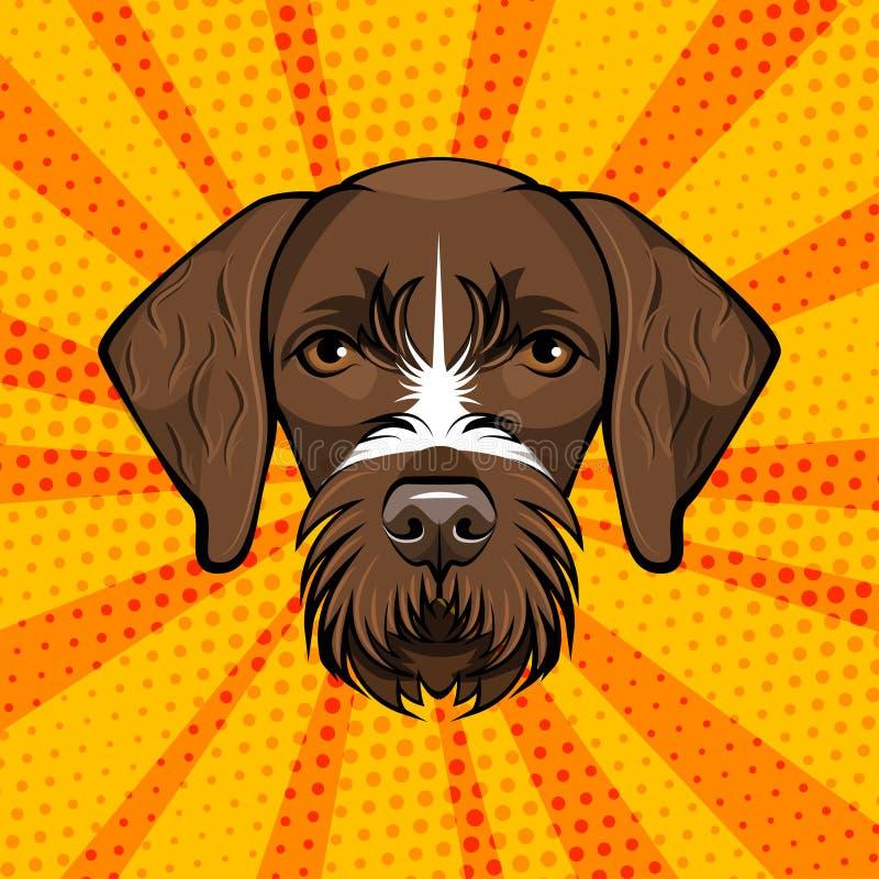 Deutsche Wirehaired Nadelanzeige Huntind-Hund Drachhaar Auch im corel abgehobenen Betrag Retro- Portrait lizenzfreie abbildung