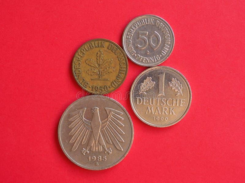deutschemarkmynt från Tyskland royaltyfri fotografi