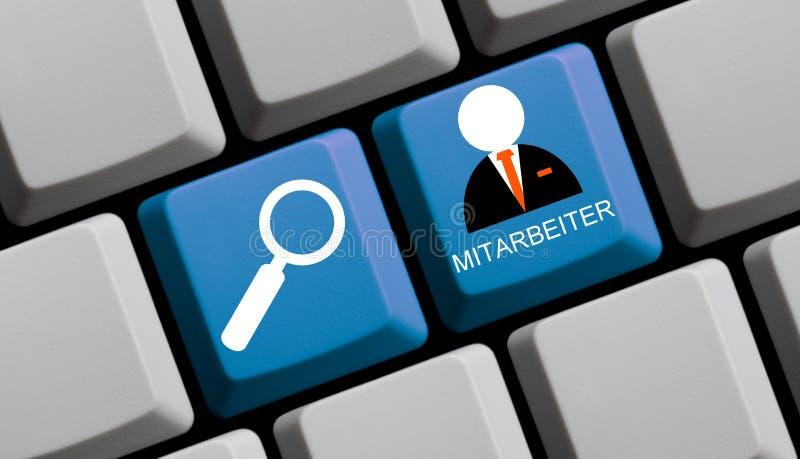 Deutscher der Suchangestellten online - Computer-Tastatur stockfoto