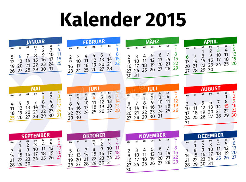 Deutscher Kalender 2015 stock abbildung. Illustration von