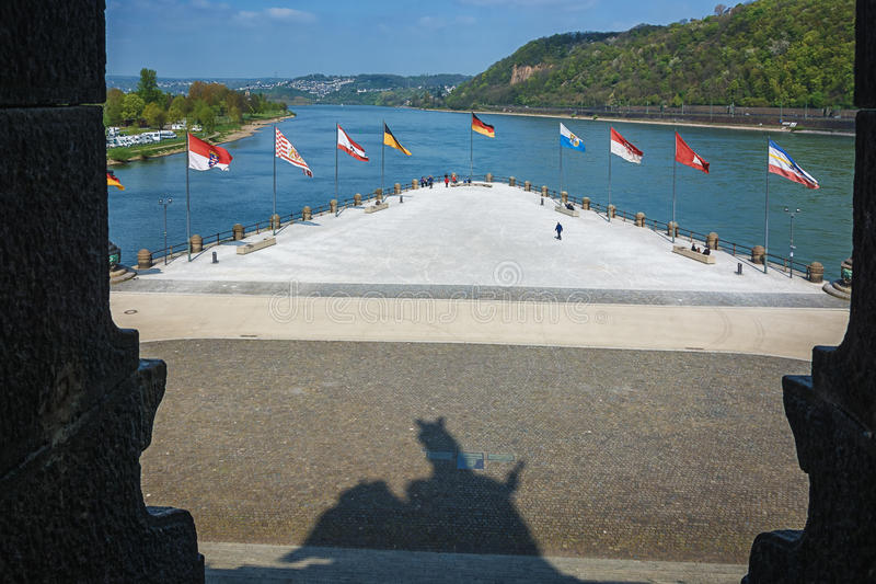 Deutsches Eck, German Corner, is the name of a headland in Koblenz where the Moselle joins the Rhine. royalty free stock image