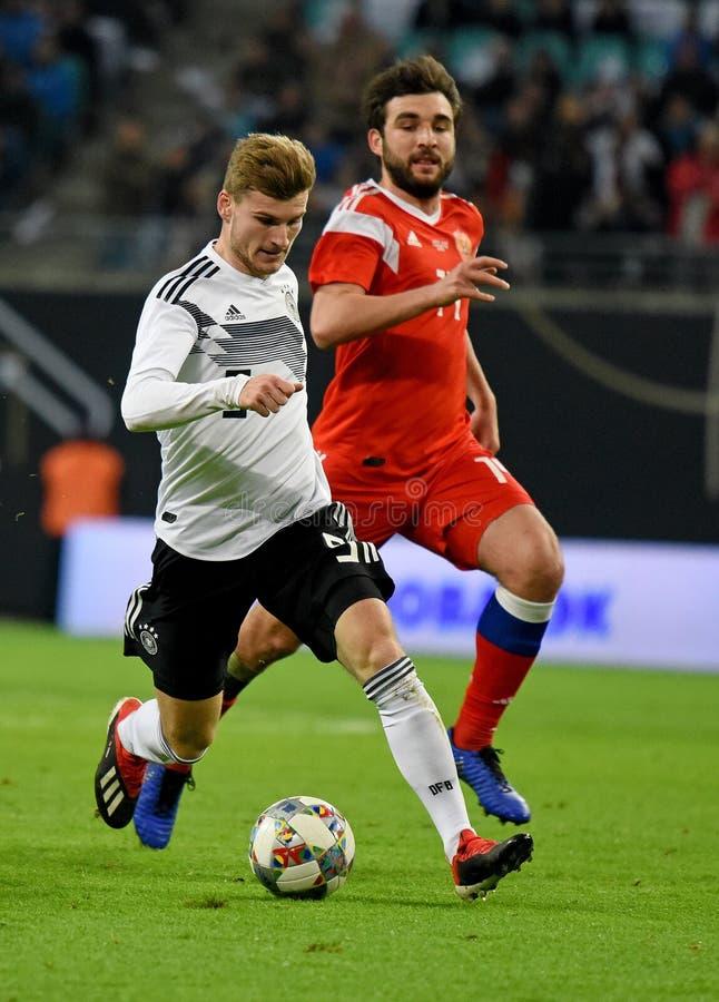Deutsches nationales Fußballteamschlaggerät Timo Werner gegen Russland stockfotos