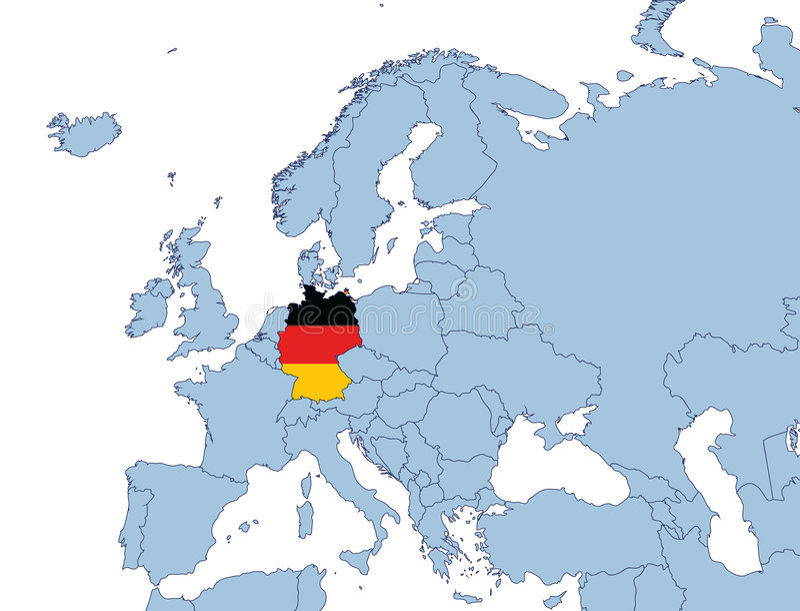 Deutschland auf Europa-Karte stock de ilustración