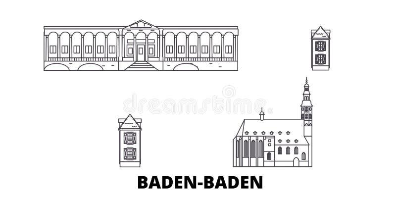 Deutschland, Baden Baden-Linie Reiseskylinesatz Deutschland, Baden Baden-Entwurfsstadt-Vektorillustration, Symbol, Reise lizenzfreie abbildung