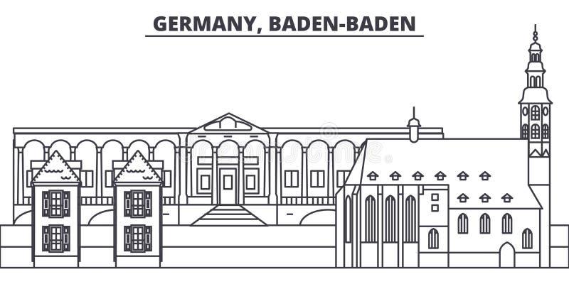 Deutschland, Baden Baden-Linie Skylinevektorillustration Deutschland, lineares Stadtbild Baden Badens mit berühmten Marksteinen,  lizenzfreie abbildung