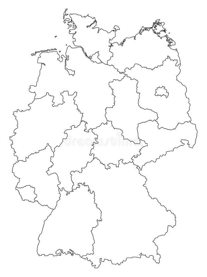 Deutschland-Entwurfskarte mit den Bundesländern lokalisiert auf weißem Hintergrund vektor abbildung