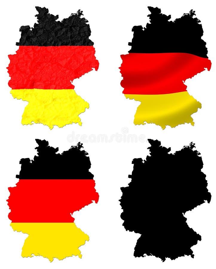 Deutschland-Flagge über Kartencollage stock abbildung